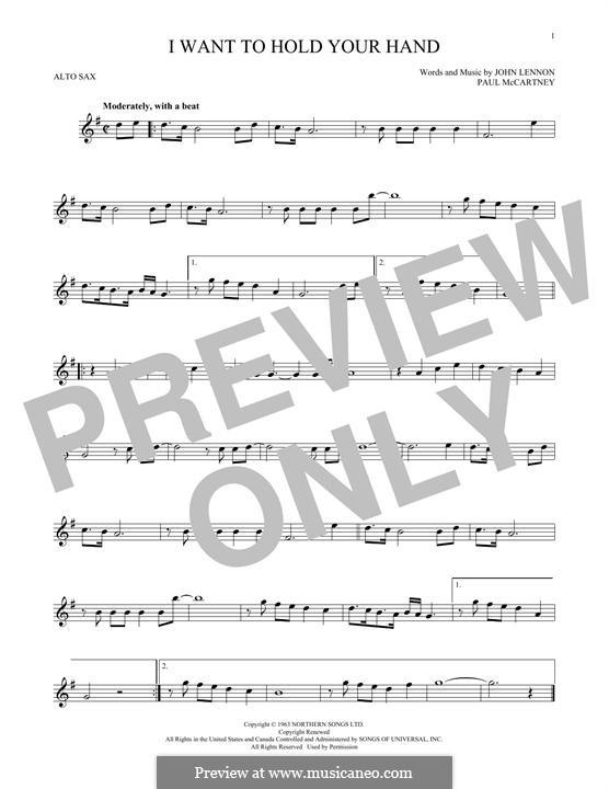 I Want to Hold Your Hand (The Beatles): para Saxofone Alto by John Lennon, Paul McCartney