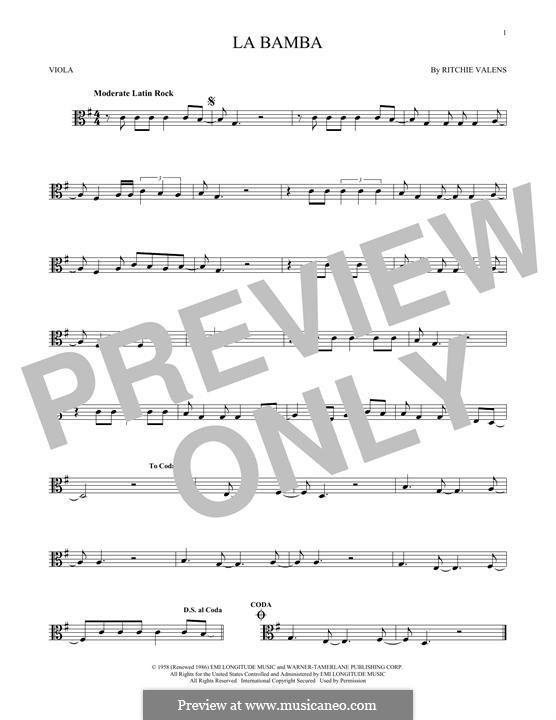 La Bamba: para viola by folklore, Ritchie Valens