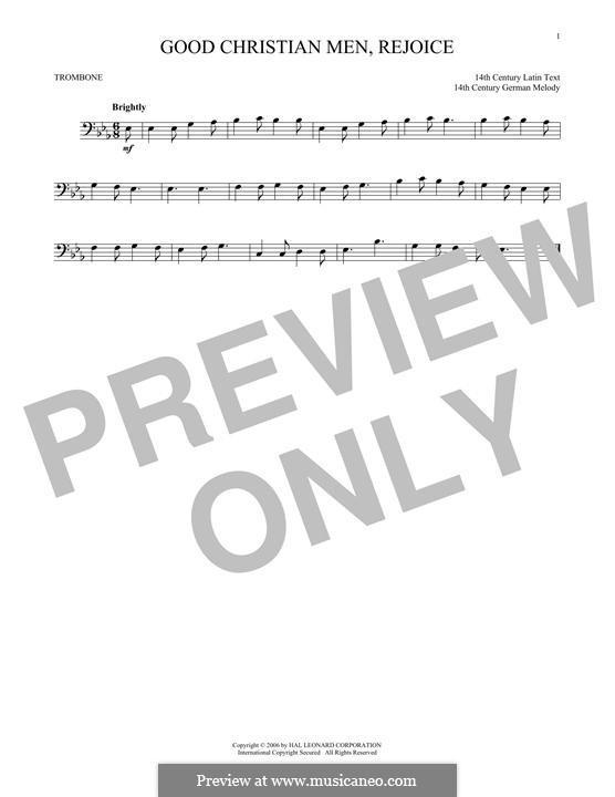 Good Christian Men, Rejoice: para trombone by folklore