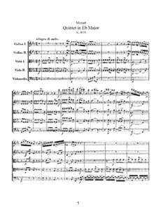 String Quintet No.6 in E Flat Major, K.614: Partitura completa by Wolfgang Amadeus Mozart