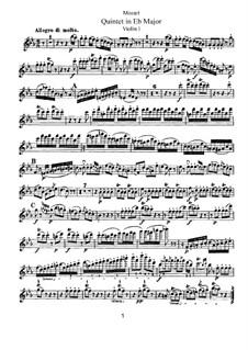 String Quintet No.6 in E Flat Major, K.614: violino parte I by Wolfgang Amadeus Mozart