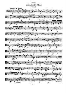 String Quintet No.6 in E Flat Major, K.614: viola parte II by Wolfgang Amadeus Mozart