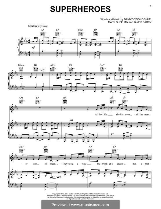 Superheroes (The Script): Para vocais e piano (ou Guitarra) by Danny O'Donoghue, Mark Sheehan, James Barry
