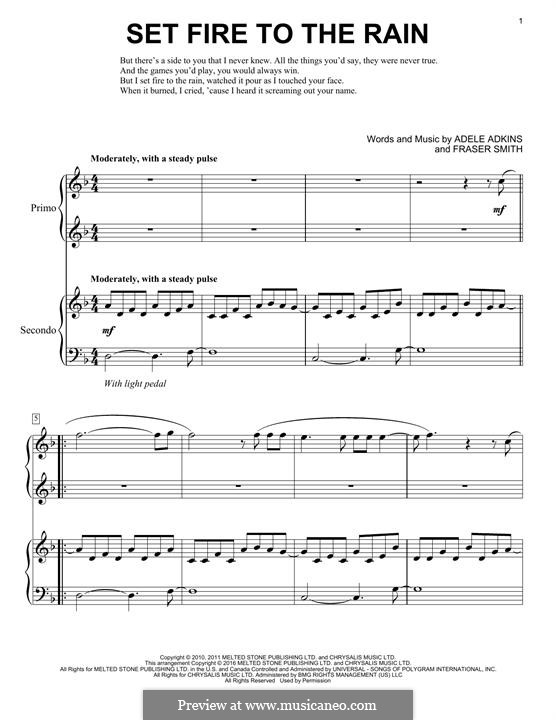 Set Fire to the Rain: Para Piano by Adele, Fraser T. Smith