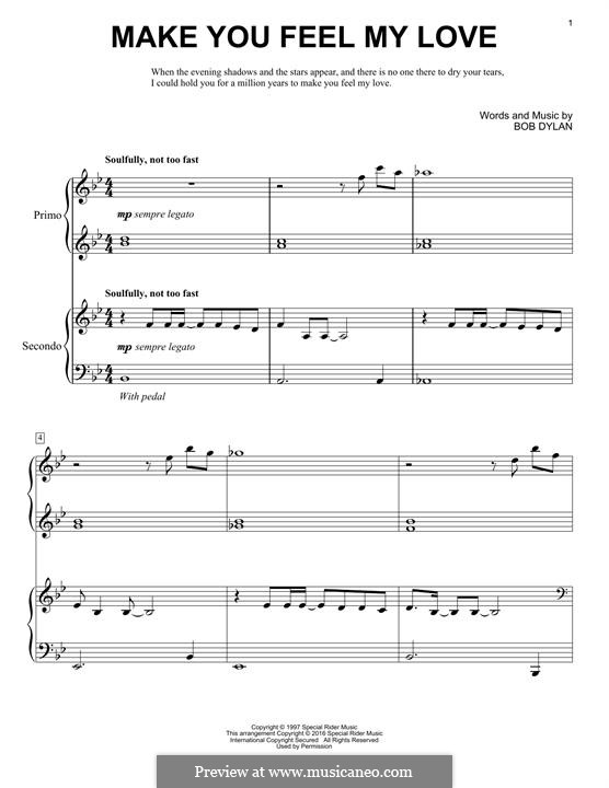 Make You Feel My Love: para piano de quadro mãos by Bob Dylan