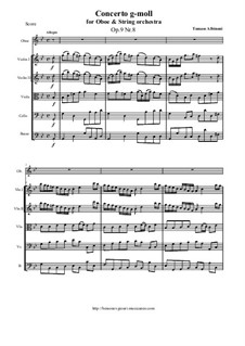 Concerto No.8 in g minor: Score and parts by Tomaso Albinoni