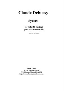 Syrinx: Arrangement for solo clarinet by Claude Debussy