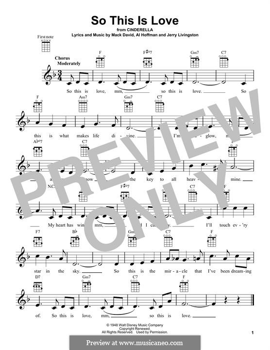 So This Is Love (The Cinderella Waltz): para ukulele by Al Hoffman, Jerry Livingston, Mack David