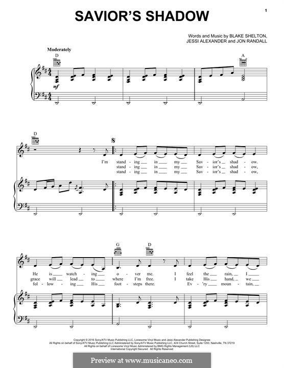 Savior's Shadow: Para vocais e piano (ou Guitarra) by Blake Shelton, Jessi Alexander, Jon Randall