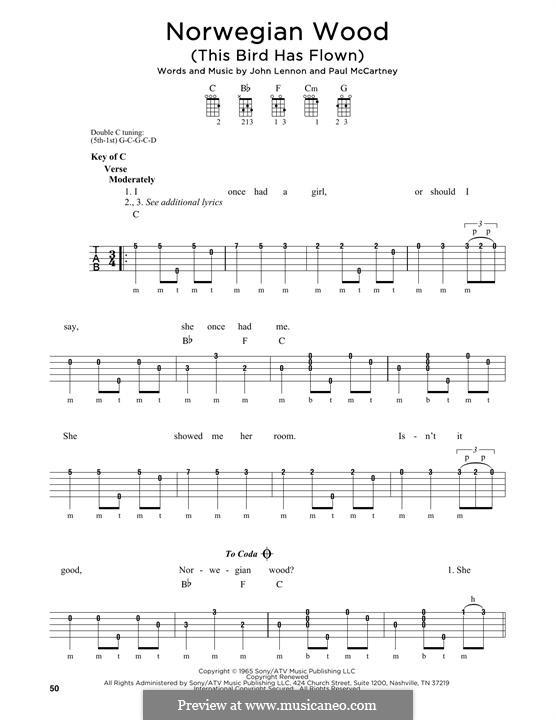 Norwegian Wood (This Bird Has Flown): For banjo by John Lennon, Paul McCartney