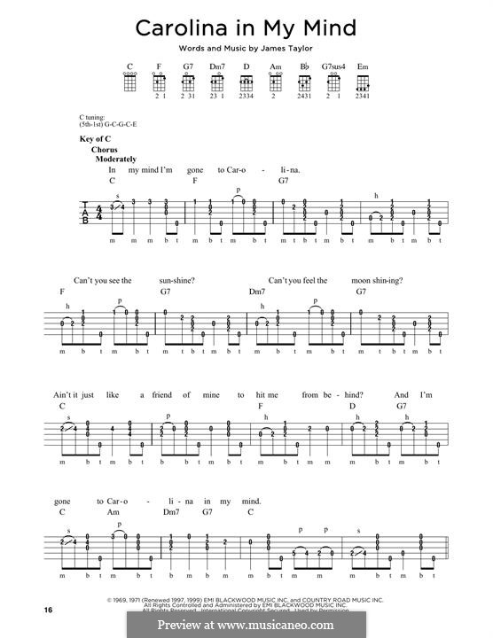Carolina in My Mind: For banjo by James Taylor