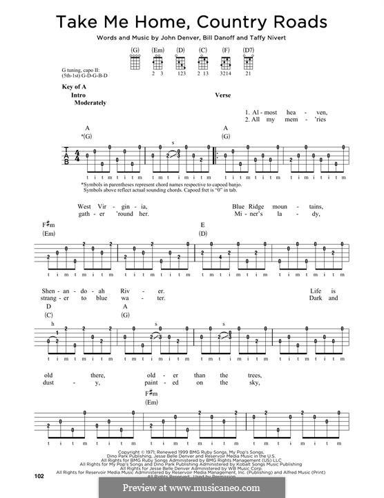 Take Me Home, Country Roads: For banjo by Bill Danoff, John Denver, Taffy Nivert