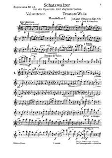 Treasure Waltz, Op.418: For mandolin and guitar by Johann Strauss (Sohn)