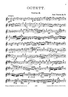 String Octet in C Major, Op.78: violino parte II by Ferdinand Thieriot