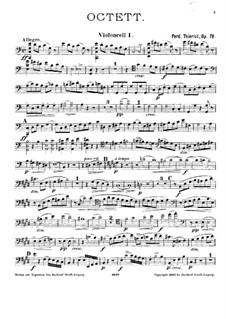 String Octet in C Major, Op.78: violoncelo parte I by Ferdinand Thieriot