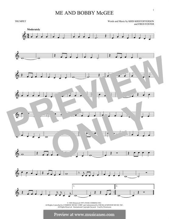 Me and Bobby McGee (Janis Joplin): para trompeta by Fred Foster, Kris Kristofferson