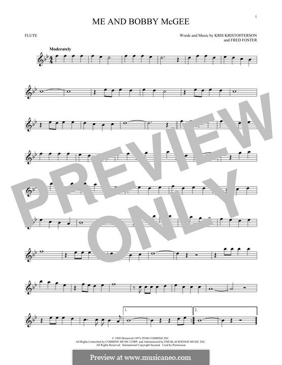 Me and Bobby McGee (Janis Joplin): para flauta by Fred Foster, Kris Kristofferson