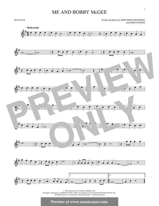 Me and Bobby McGee (Janis Joplin): para Saxofone Alto by Fred Foster, Kris Kristofferson