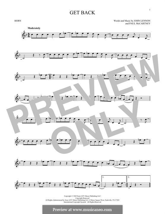 Get Back (The Beatles): For horn by John Lennon, Paul McCartney