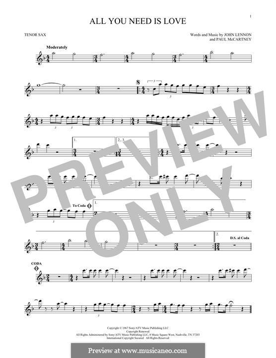 All You Need Is Love (The Beatles): para saxofone tenor by John Lennon, Paul McCartney