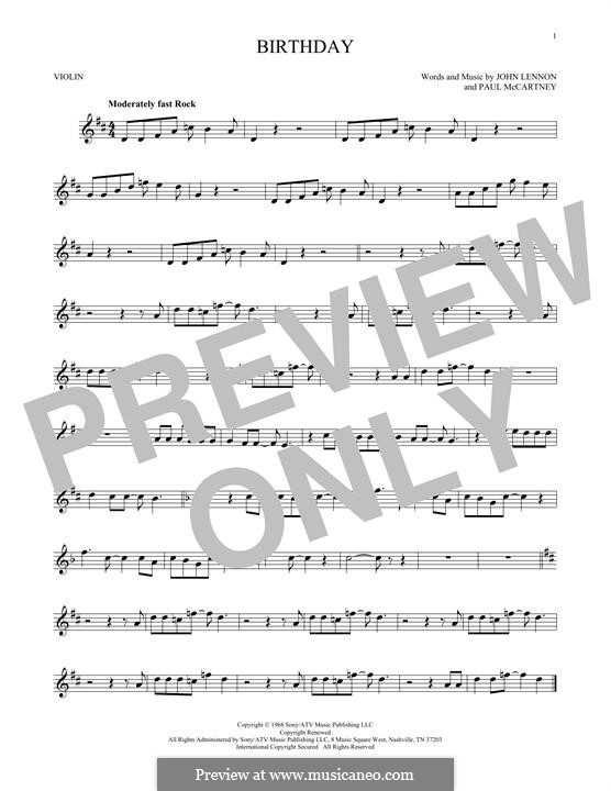 Birthday (The Beatles): para violino by John Lennon, Paul McCartney