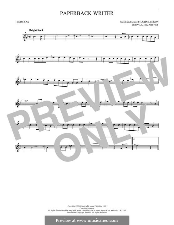 Paperback Writer (The Beatles): para saxofone tenor by John Lennon, Paul McCartney
