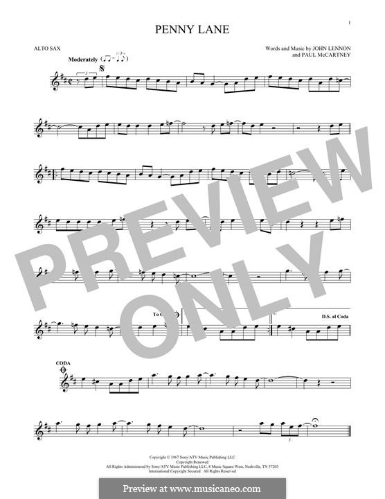 Penny Lane (The Beatles): para Saxofone Alto by John Lennon, Paul McCartney