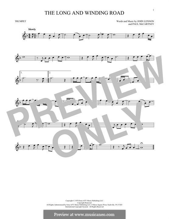 The Long and Winding Road (The Beatles): para trompeta by John Lennon, Paul McCartney