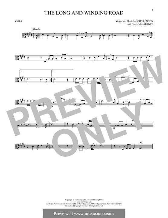 The Long and Winding Road (The Beatles): para viola by John Lennon, Paul McCartney