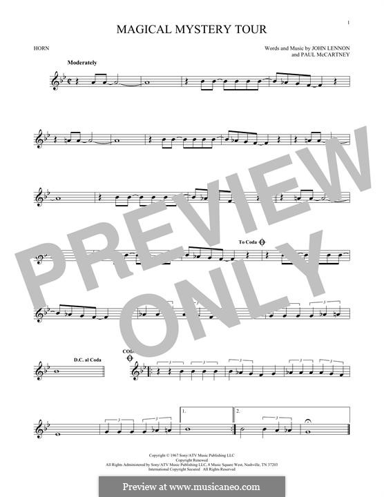 Magical Mystery Tour (The Beatles): For horn by John Lennon, Paul McCartney