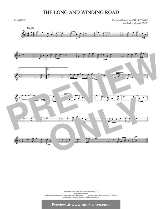 The Long and Winding Road (The Beatles): para clarinete by John Lennon, Paul McCartney