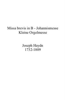 Mass in B Flat Major 'Missa brevis', Hob.XXII No.7: Mass in B Flat Major 'Missa brevis' by Joseph Haydn