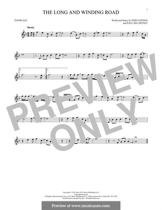 The Long and Winding Road (The Beatles): para saxofone tenor by John Lennon, Paul McCartney