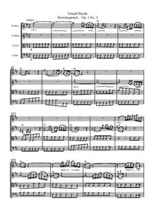 String Quartet No.3 in D Major, Hob.III/3 Op.1 No.3: partitura completa by Joseph Haydn
