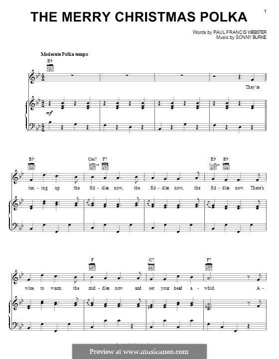 The Merry Christmas Polka: Para vocais e piano (ou Guitarra) by Sonny Burke