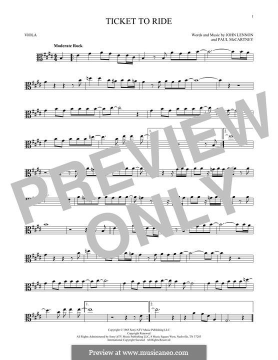 Ticket to Ride (The Beatles): para viola by John Lennon, Paul McCartney