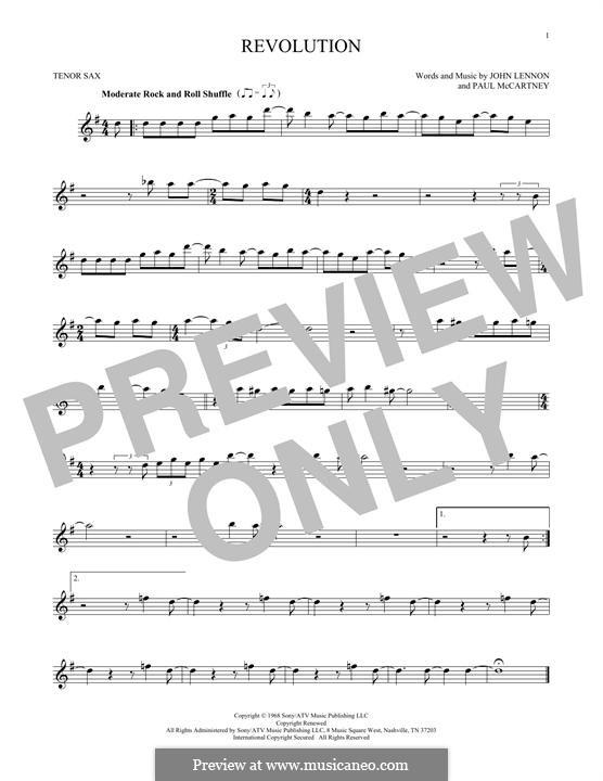 Revolution (The Beatles): para saxofone tenor by John Lennon, Paul McCartney