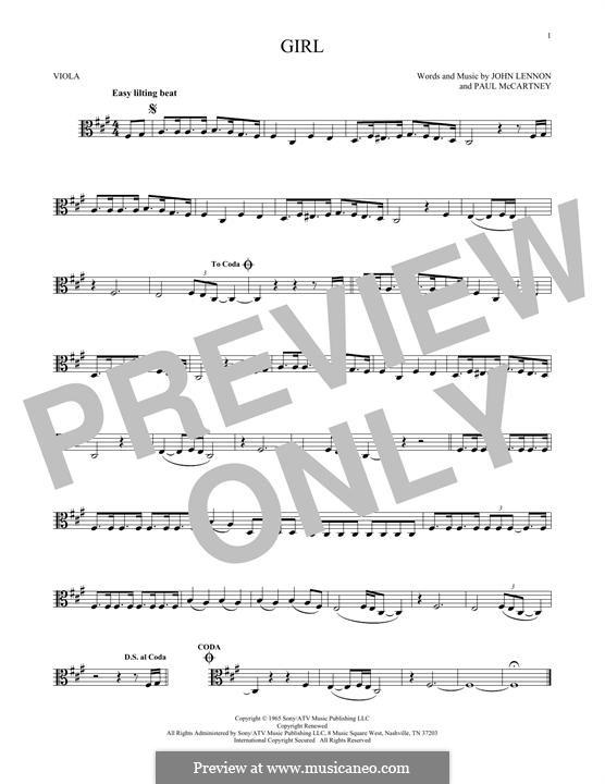Girl (The Beatles): para viola by John Lennon, Paul McCartney