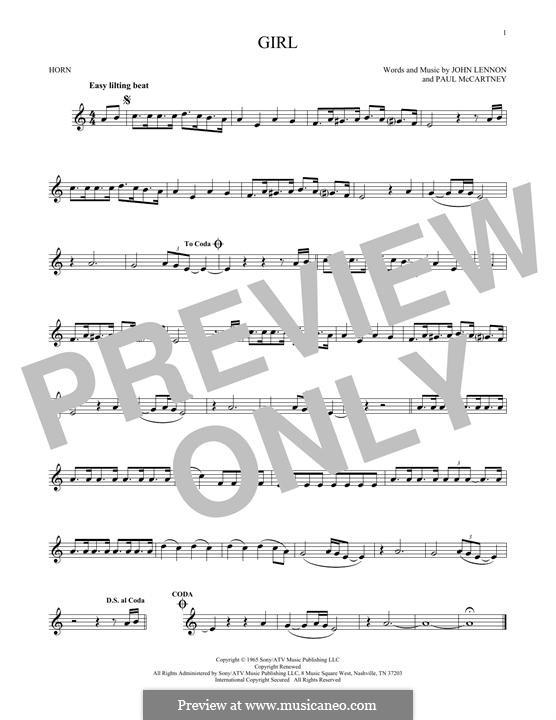 Girl (The Beatles): For horn by John Lennon, Paul McCartney