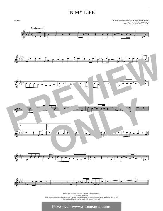 In My Life (The Beatles): For horn by John Lennon, Paul McCartney