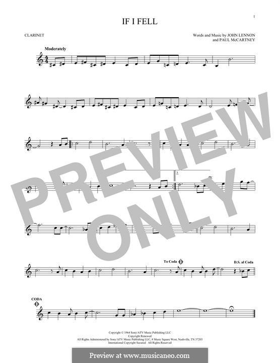 If I Fell (The Beatles): para clarinete by John Lennon, Paul McCartney