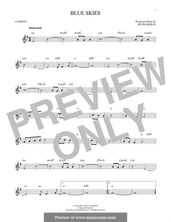 Blue Skies: para clarinete by Irving Berlin