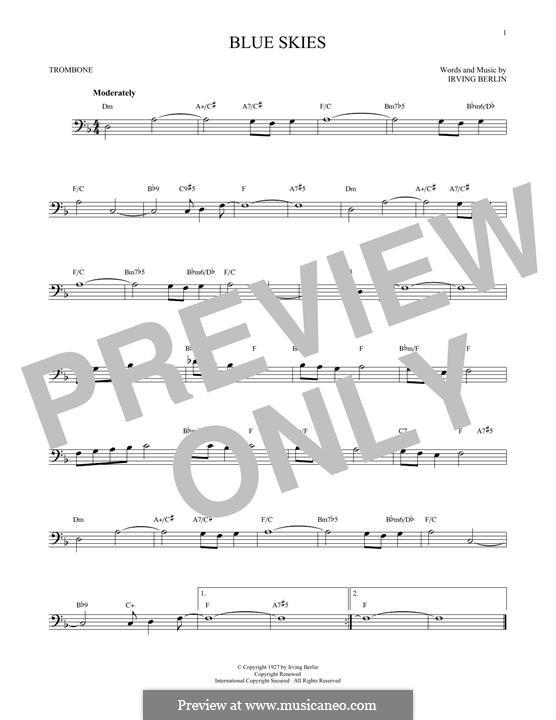 Blue Skies: para trombone by Irving Berlin