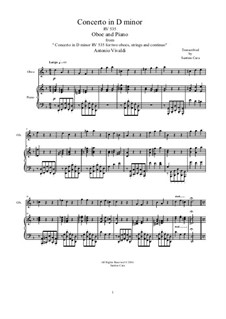 Concerto for Two Oboes and String Orchestra in D Minor, RV 535: Arrangement for oboe and piano by Antonio Vivaldi