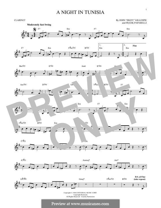 A Night in Tunisia: para clarinete by Dizzy Gillespie, Frank Paparelli