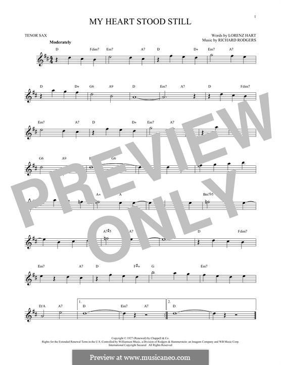 My Heart Stood Still: para saxofone tenor by Richard Rodgers