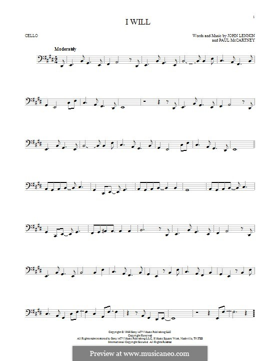 I Will (The Beatles): para violoncelo by John Lennon, Paul McCartney