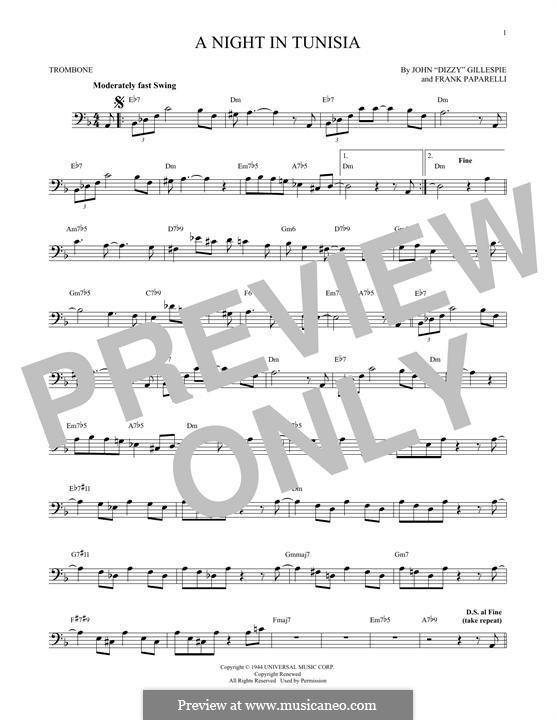 A Night in Tunisia: para trombone by Dizzy Gillespie, Frank Paparelli