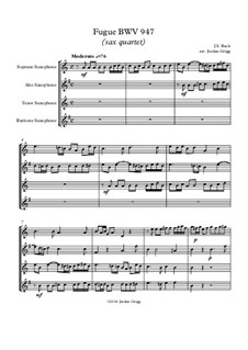 Fugue in A Minor, BWV 947: para quarteto de saxofone by Johann Sebastian Bach