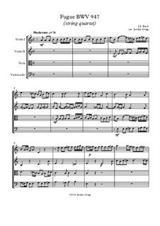 Fugue in A Minor, BWV 947: para quartetos de cordas by Johann Sebastian Bach